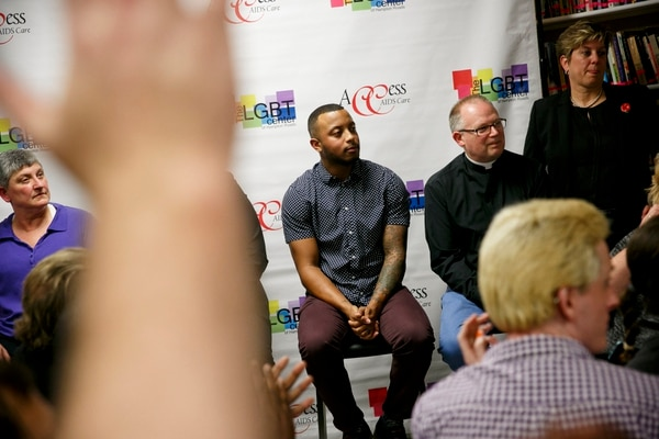 In this November 2016, photo, two days after the election of President Donald Trump, Taryn McLean attends a community forum is hosted at the LGBT Center of Hampton Roads. (Kristen Zeis/The Virginian-Pilot via AP)