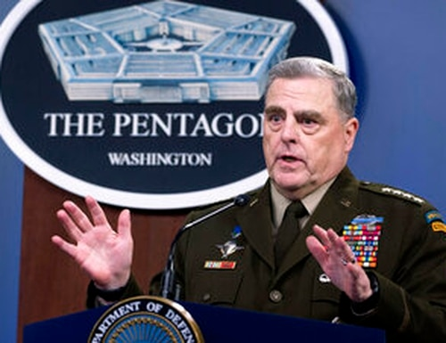 Joint Chiefs Chairman, Army Gen. Mark Milley, speaks at a press briefing at the Pentagon, Wednesday, July 21, 2021 in Washington. (AP Photo/Kevin Wolf)