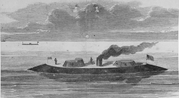 The ironclad Keokuk, a line engraving published in Harper's Weekly in 1862 that tried to give a very rough depiction of the ship's intended appearance. She was originally named Moodna, but was renamed Keokuk while under construction. (U.S. Naval History and Heritage Command)