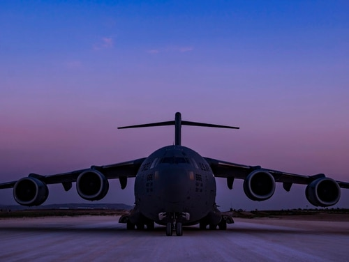 A C-17 Globemaster III conducts combat airlift operations for U.S. and coalition forces in Iraq and Syria on April 13, 2018. The drama of U.S. and allied missiles strikes on Syria has obscured the fact that the U.S.-led campaign to eliminate the Islamic State from Syria has stalled. This is an illustration of the many-layered complexities of the Syrian conflict. (Tech. Sgt Gregory Brook/U.S. Air Force via AP)
