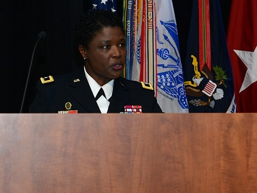 Then-Brig. Gen. Donna Martin, U.S. Army Military Police School commandant, speaks to attendees during the Dr. Martin Luther King Jr. birthday celebration at Joint Base Langley-Eustis, Va., Jan. 11, 2018. (Staff Sgt. Teresa J. Cleveland/Air Force)