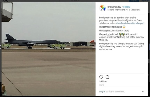 An Instagram post shortly after rescue crews responded to the emergency landing of a B-1 Lancer in Midland, Texas, May 1. Fire crews used foam retardant, suggesting that the crew reported an engine fire. The Air Force has not discussed the details of the landing, citing an ongoing investigation.