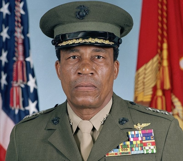 Lt. Gen. Frank E. Petersen, Jr. the first African-American Marine Corps aviator and the first African-American Marine Corps officer to be promoted to brigadier general. (Marine Corps)