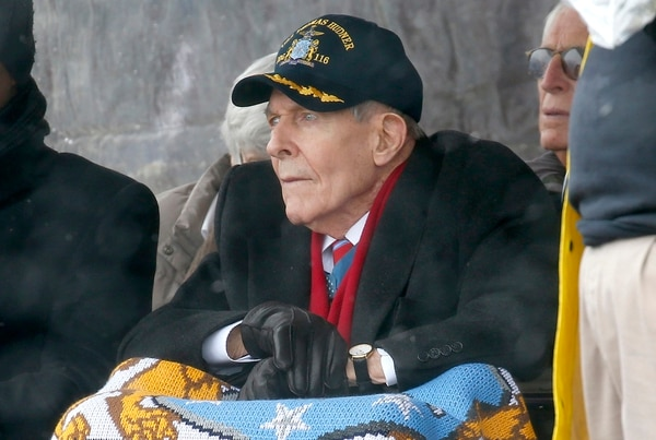 Korean War veteran Thomas Hudner looks on during the christening ceremony April 1, 2017, for the future warship Thomas Hudner, a U.S. Navy destroyer named in his honor, at Bath Iron Works in Bath, Maine. The ship will be commissioned Saturday, Dec. 1, 2018 in Boston. (Mary Schwalm, Associated Press)