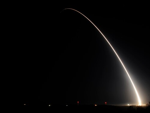 An unarmed Minuteman III intercontinental ballistic missile is test launched in Oct. 2015. The Pentagon plans to buy a new replacement, but could an analyst believes slowing test rate could benefit the department. (USAF/Airman 1st Class Ian Dudley)