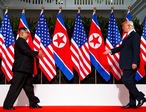 In this June 12, 2018, photo, President Donald Trump meets with North Korean leader Kim Jong Un on Sentosa Island in Singapore. (Evan Vucci/AP)