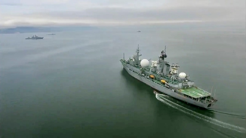 In this undated video grab provided by Russian Defense Ministry Press Service, Russian warships take part in maneuvers in the Bering Sea. (Russian Defense Ministry Press Service via AP)