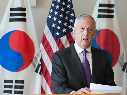 U.S. Secretary of Defense James Mattis delivers a statement before a meeting with the Republic of Korea (ROK) Minister of National Defense Song Young-moo on Jan. 26, 2018, at USPACOM headquarters at Camp H.M. Smith, Hawaii. Secretary Mattis and Minister Song reaffirmed the U.S.-ROK alliance and the mission to maintain peace and stability on the Korean Peninsula. (MC2 James Mullen/Navy)
