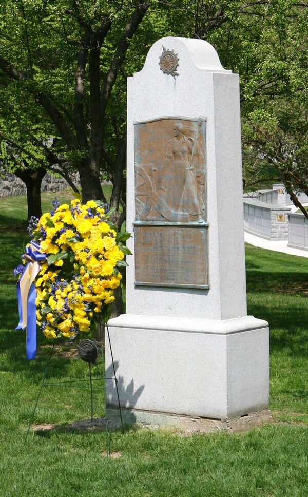 This May 2015 photo provided by the Daughters of the American Revolution (DAR) shows the gravesite honoring Revolutionary War hero Margaret