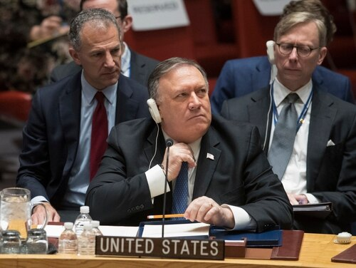 U.S. Secretary of State Mike Pompeo asked the U.N. Security Council on Dec.12 to prevent Iran from getting around arms restrictions. (Mary Altaffer/AP)