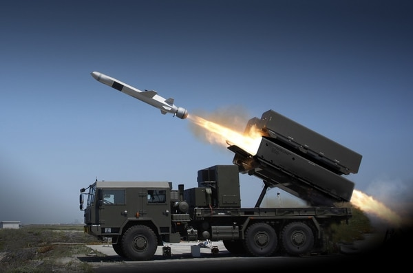 A product image demonstrating the Naval Strike Missile being fired from a truck. (Image courtesy of Kongsberg.)