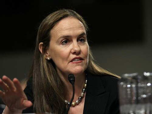 Then-U.S. Under Secretary of Defense for Policy Michele Flournoy testifies during a hearing before the Senate Armed Services Committee March 15, 2011, on Capitol Hill in Washington. (Alex Wong/Getty Images)