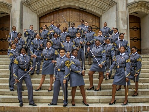 In this May 7, 2019, photo, black female cadets with the Class of 2019 pose at the U.S. Military Academy in West Point, N.Y. The 34 women comprise a small slice of the roughly 1,000 cadets in the class. The cadets say they're proud to be part of a milestone at the historic academy after four years of testing their limits. (Cadet Hallie H. Pound/U.S. Army via AP)