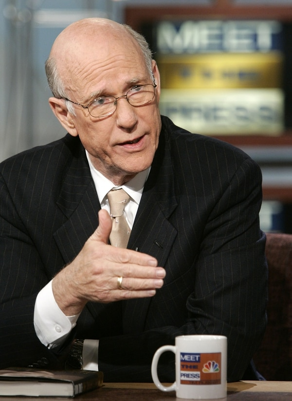 WASHINGTON - APRIL 10: U.S. Senator Pat Roberts (R-KS) speaks during a taping of 'Meet the Press' at the NBC studios April 10, 2005 in Washington, DC. Senator Roberts spoke about the Weapons of Mass Destruction Report which found that American intelligence agencies' assessments of Iraq's weapons of mass destruction program were incorrect. (Photo by Alex Wong/Getty Images)