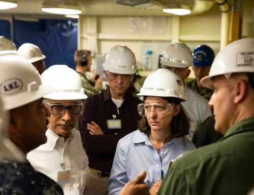 U.S. Rep. Elaine Luria, shown here touring the aircraft carrier Gerald R. Ford in 2019, is seeking answers from the Navy regarding plans to slash the Naval Audit Service's budget. Luria, a Virginia Democrat, is also a retired surface warfare officer. (Navy)