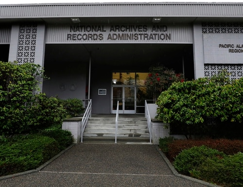 This Jan. 23, 2020, photo shows the National Archives on Sand Point, Wash., that has about a million boxes of generally unique, original source documents and public records. (Alan Berner/The Seattle Times via AP)