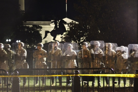 National Guard personnel stand in riot gear in front of the White House during protests on June 2, 2020, over the death of George Floyd. (Kyle Rempfer/Staff)