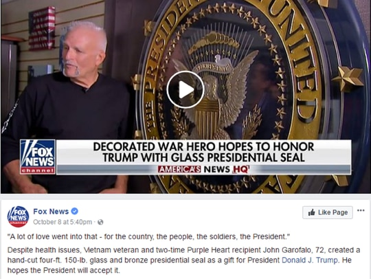 John Garofalo appeared in a viral Fox News segment this month, where he was portrayed as a SEAL who deployed to Vietnam. (Screenshot/Facebook)