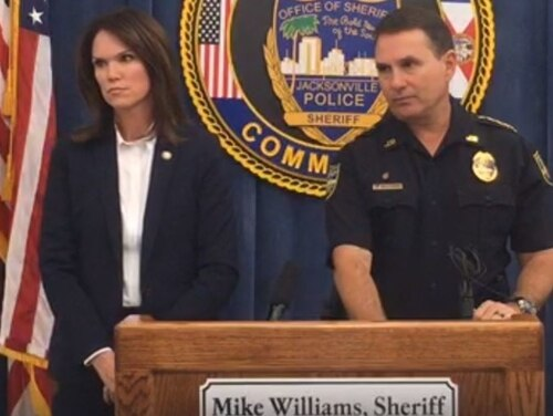 Jacksonville State Attorney Melissa Nelson and Jacksonville Sheriff Mike Williams announce charges against Information Systems Technician 1st Class Brianna Shontae Williams, 27, tied to the disappearance of the sailor's 5-year-old daughter. (Jacksonville Sheriff's Office)