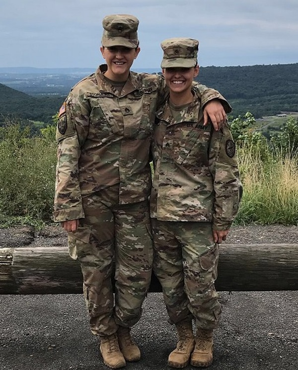 Oklahoma National Guardsman Staff Sgt. Erika Stormont, left, after graduating from cavalry scout MOS qualification on July 30, 2017. (Photo courtesy Erika Stormont)