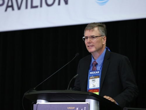 Geospatial Intelligence Directorate Director Troy Meink announces three new contracts with commercial imagery companies at the GEOINT 2019 conference in San Antonio. (Photo courtesy of United States Geospatial Intelligence Foundation)
