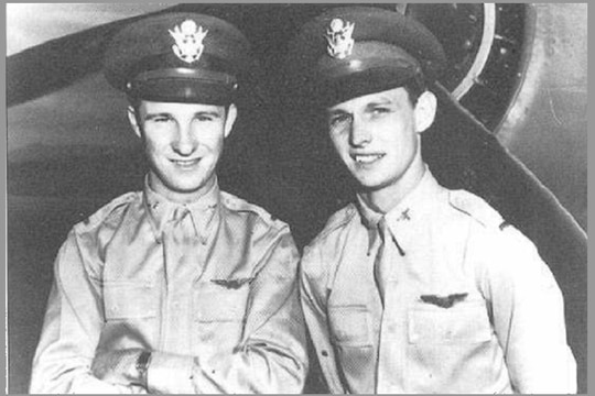 Army Air Corps 2nd Lts. Ken Taylor, left, and George Welch were just leaving an all-night card game when they heard distant gunfire. (Air Force archives)
