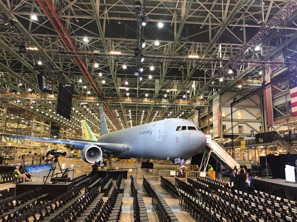 A KC-46 is displayed Jan. 24, 2019, at Boeing's production facility in Everett, Wash., ahead of a ceremony marking the first KC-46 delivery. (Valerie Insinna/Staff)