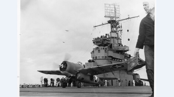 A Grumman F4F-4 Wildcat fighter taking off from the aircraft carrier Ranger to attack targets ashore during the invasion of Morocco in 1942. (National Archives)