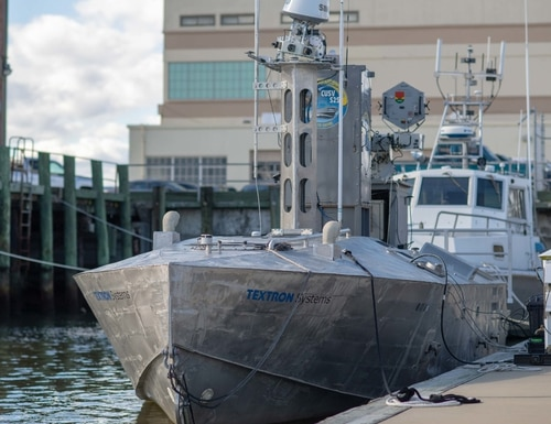 A developmental and early variant of the Common Unmanned Surface Vehicle (CUSV) autonomously conducted maneuvers on the Elizabeth River during Citadel Shield-Solid Curtain 2020 at Naval Station Norfolk. (Mass Communication Specialist 2nd Class Grant G. Grady/Navy)