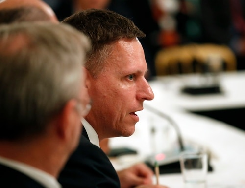 Peter Thiel, a Founders Fund partner, speaks during an American Technology Council roundtable at the White House in 2017, in Washington. (AP Photo/Alex Brandon)