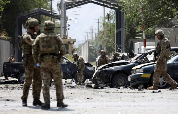 Resolute Support forces arrive at the site of a car bomb explosion in Kabul, Afghanistan, Thursday, Sept. 5, 2019. (Rahmat Gul/AP)