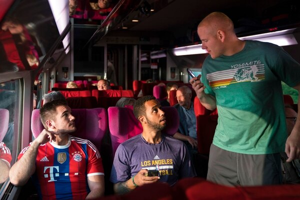 This image released by Warner Bros. Pictures shows Spencer Stone, from left, Anthony Sadler and Alex Skarlatos in a scene from