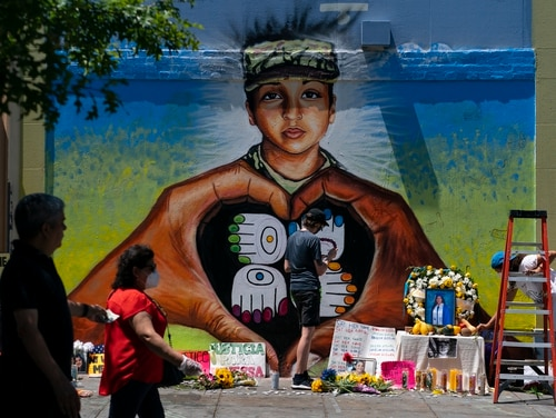 A mural of slain Army Spc. Vanessa Guillen is painted on 14th Street NW in Washington July 13. (Carolyn Kaster/AP)