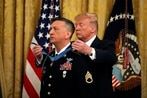 President Donald Trump bestows Medal of Honor on David Bellavia, the first living Iraq War recipient