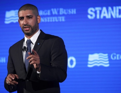 Medal of Honor recipient Florent Groberg speaks during a conference at the U.S. Chamber of Commerce June 23, 2017 in Washington. The George W. Bush Institute hosted a conference to address veteran issues. (Alex Wong/Getty Images)