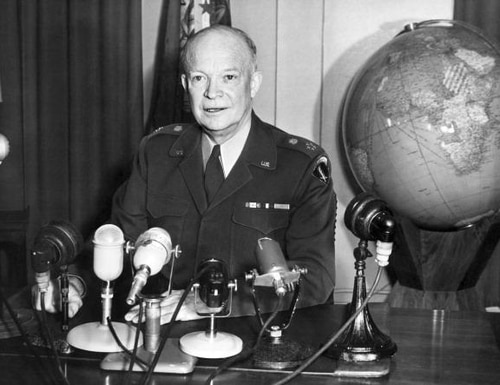 US Supreme Commander of the North Atlantic Treaty Organization (NATO) General Dwight David Eisenhower (1890-1969) presents his first yearly report to the press at NATO's headquarters in Rocquencourt on April 2, 1952. AFP PHOTO (Photo credit should read /AFP/GettyImages)