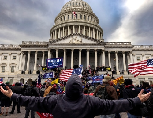 Pro-Trump protesters gather in front of the U.S. Capitol Building on Jan. 6, 2021, in Washington. (Brent Stirton/Getty Images)