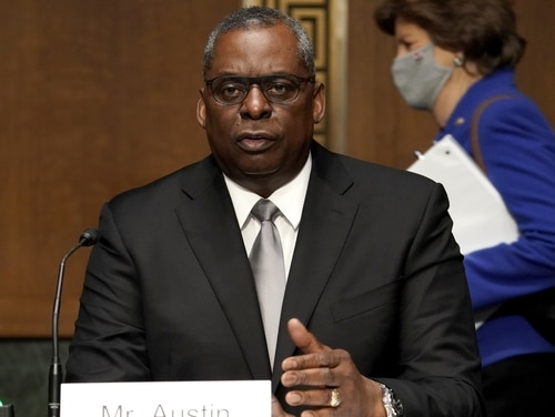 Defense Secretary Lloyd Austin, pictured at his January confirmation hearing, told a Republican senator that he does not believe the military is inherently racist. (Greg Nash-Pool/Getty Images)