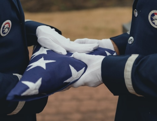 Airman train on the flag-folding portion of funeral honors in 2018. (Staff Sgt. Ryan Campbell/Air National Guard)