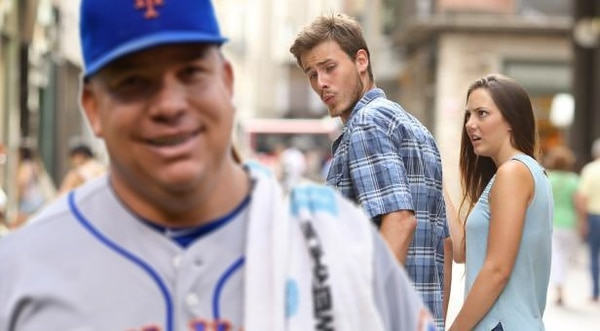 Many have caught the admiration of the instantly recognizable distracted boyfriend, including Bartolo Colon.