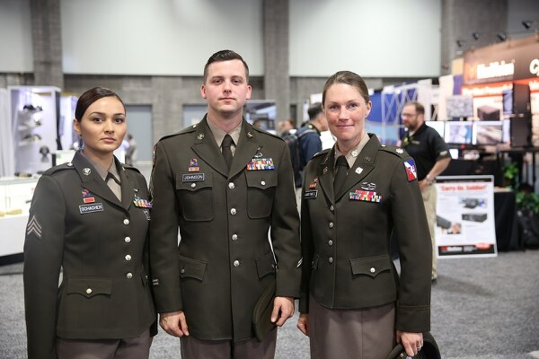 Soldiers model the pinks and greens prototype during AUSA on Tuesday, Oct. 11 in Washington, DC.