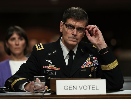 Army Gen. Joseph Votel, commander of U.S. Central Command, testifies before the Senate Armed Services Committee for his current position at a nomination hearing on March 9, 2016, in Washington, D.C. (Win McNamee/Getty Images)