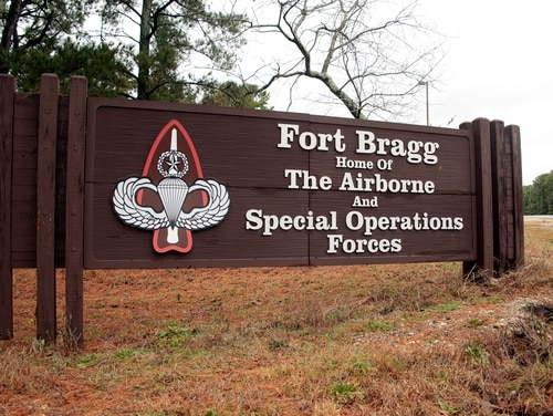 This Jan. 4, 2020, file photo shows a sign for at Fort Bragg, N.C. (Chris Seward/AP)