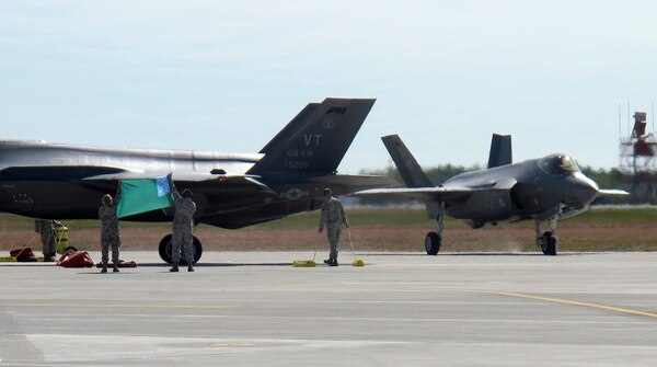 Two F-35 fighter jets are parked on Thursday, Sept. 19, 2019, after arriving at the Vermont Air National Guard base in South Burlington, Vt., flown by Guard pilots to Vermont from the factory in Fort Worth, Texas. (Wilson Ring/AP)