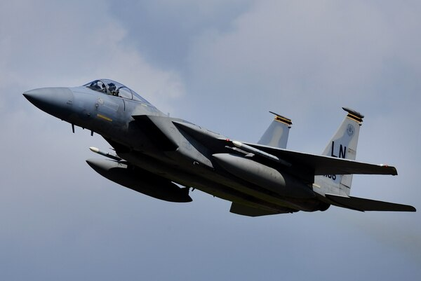 NORAD scambled two F-15Cs Friday to intercept an airline employee who stole a plane from Seattle-Tacoma International Airport. (Tech. Sgt. Matthew Plew/Air Force)