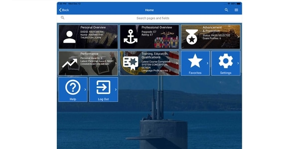 The tablet version of the main page of the Navy's new MyRecord Application, now available for Apple and Android smart devices.