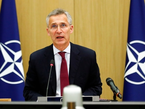 NATO Secretary General Jens Stoltenberg speaks during a video conference of NATO Defense Minister at the NATO headquarters in Brussels on June 17, 2020. (Francois Lenoir/Pool Photo via AP)