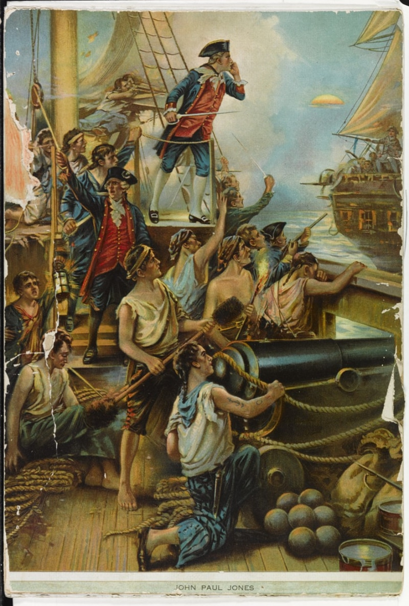 Capt. John Paul Jones hailing the British frigate Serapis during the action from the deck of the frigate Bon Homme Richard, 23 September 1779. (Lithograph by Hayes Lithographing Co., Buffalo, from a painting by Paul Moran, now in the collections of U.S. Naval History and Heritage Command)