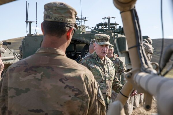 U.S. Army Gen. Mike Murray speaks about the advancement of unmanned vehicles during a brief on equipment tested May 7, 2019, at Yakima Training Center in Washington state. (Spc. Audrey Ward/U.S. Army)