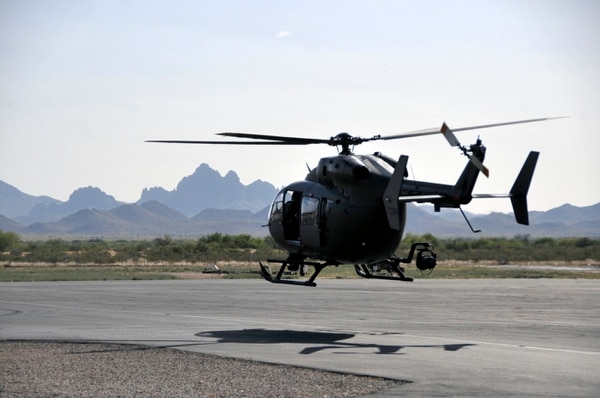 A Mississippi Army National Guard LUH-72 Lakota of 1st Battalion, 185th Aviation Regiment, taxis to the runway at Silver Bell Army Heliport in Marana, Arizona, April 23, 2015, for a mission as part of Task Force Raven, the aerial component of a federal multi-agency operation to secure the U.S.-Mexico border. (Army National Guard)
